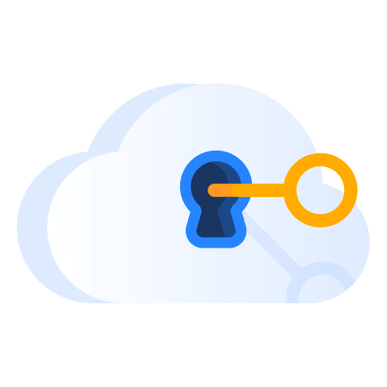 Cloud lock with key illustration