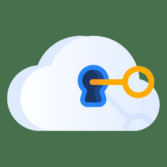 Ilustracja kłódki w kształcie chmury z kluczem