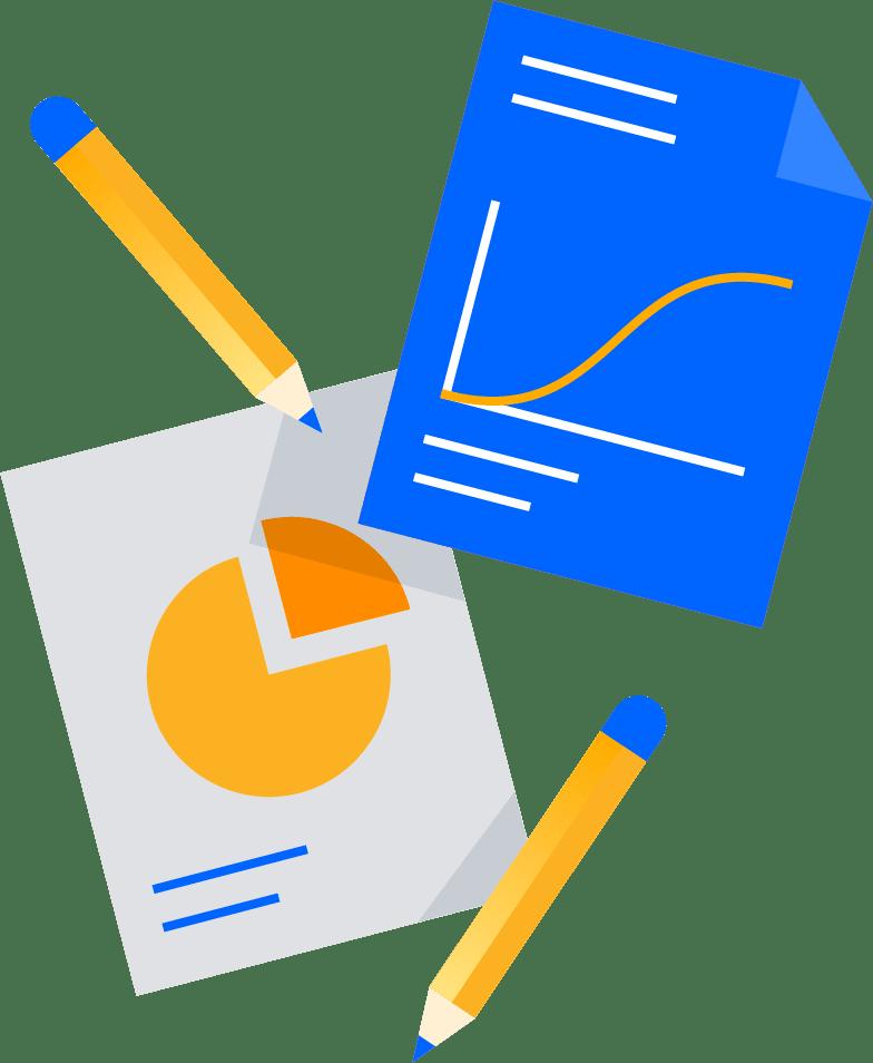 Ilustración de lápices y papeles