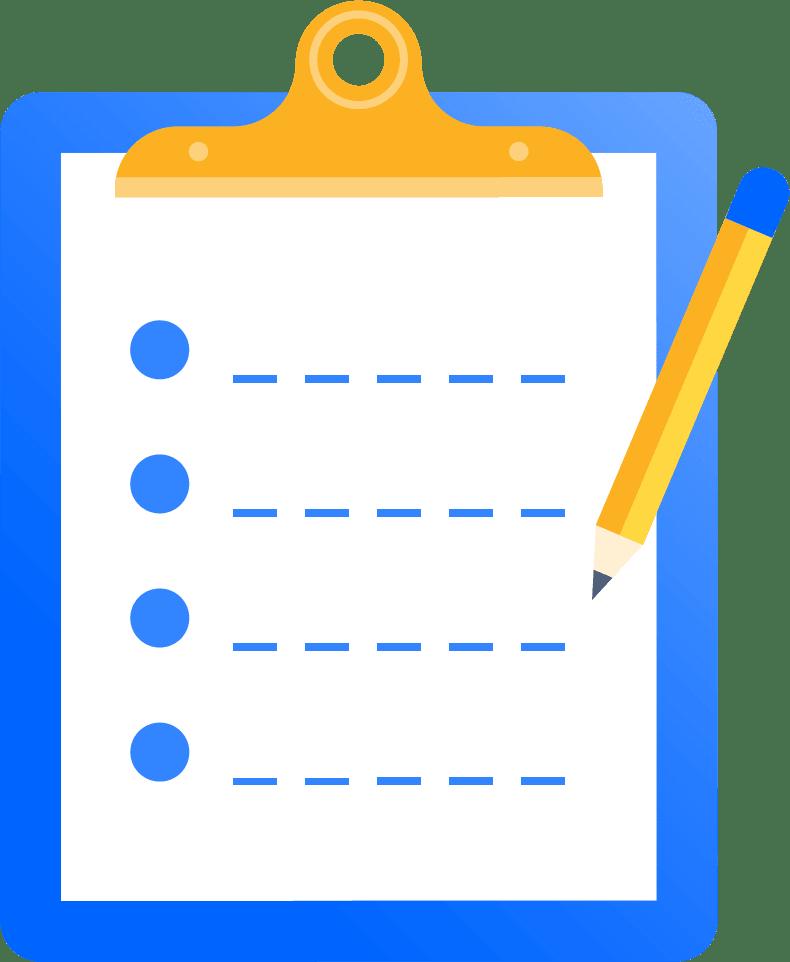 Abbildung: Klemmbrett mit Papier- und Bleistift