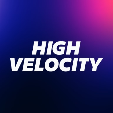 High Velocity Text on a purple background