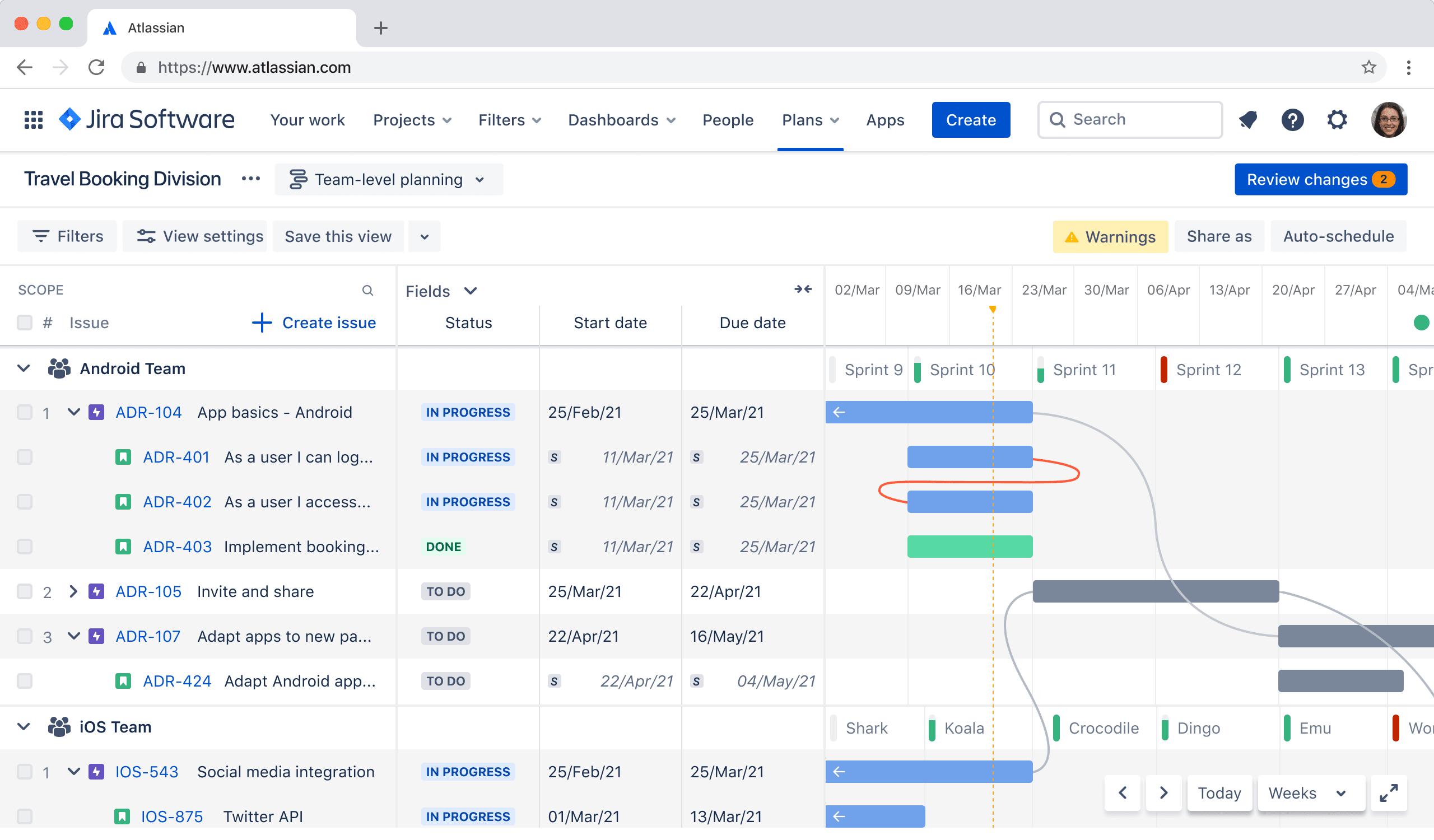 Captura de pantalla de hoja de ruta de producto