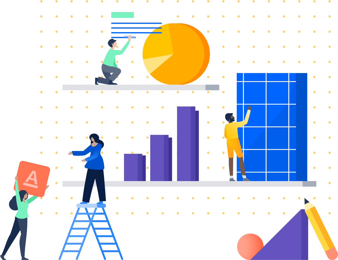 Illustration of people stacking objects on a shelf