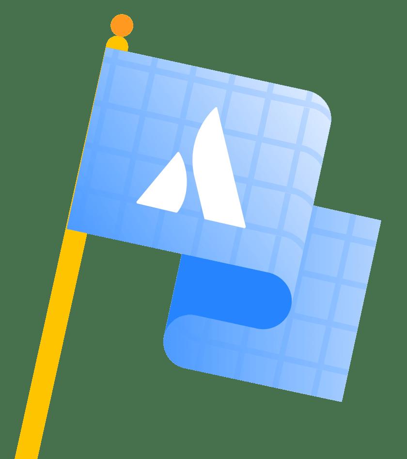 Флаг с синим оттиском PointA